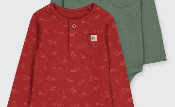 Farm Print & Green Bodysuits 2 Pack