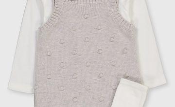 Grey Bobble Knit Bodysuit Set & Socks