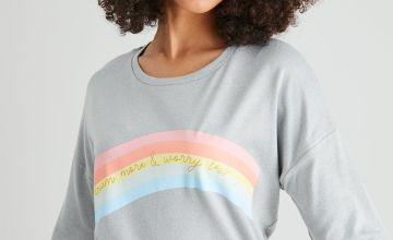 Grey Rainbow Slogan Pyjama Top