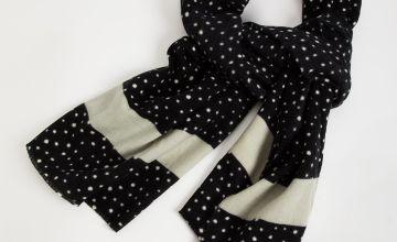 Black Polka Dot Scarf - One Size