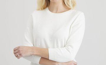 Cream Dot Fine Knit Jumper