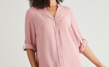 Pink Twill Longline Oversized Shirt