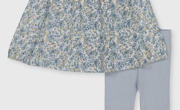 Blue Floral Dress, Leggings & Headband