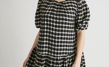 Monochrome Check Tea Dress