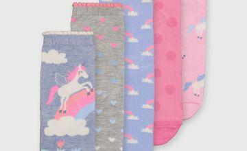 Unicorn Pastel Ankle Socks 5 Pack