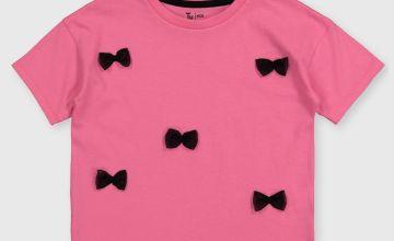 Pink Bow Appliqué T-Shirt