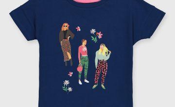 Navy Girl Textured Graphic T-Shirt