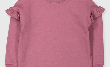 Pink Frill Sleeve Sweatshirt