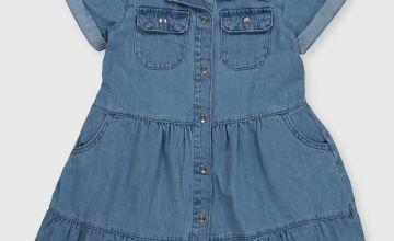 Blue Tiered Denim Dress