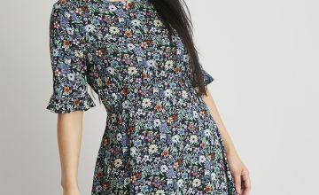 PETITE Floral Print Tea Dress