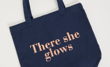 Navy 'There She Glows' Canvas Bag - One Size