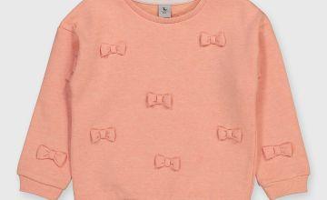 Peach Bow Sweatshirt