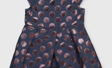 Navy & Pink Metallic Spot Occasion Dress