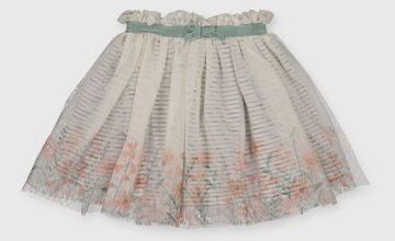 Spring Green Floral Mesh Skirt