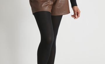 Brown Faux Leather Paperbag Waist Shorts