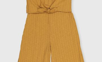 Mustard Ribbed Jersey Jumpsuit