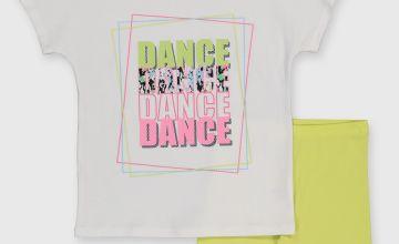 White 'Dance' T-Shirt & Shorts