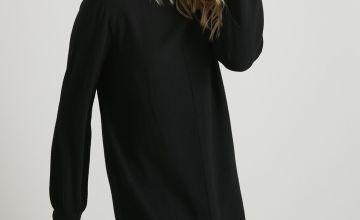 Grey Balloon Sleeve Knitted Jumper Dress
