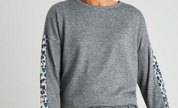 Grey Soft Knit Animal Trim Pyjama Top