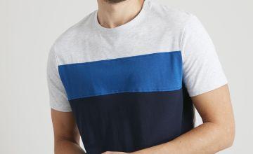 Blue Colour Block T-Shirt