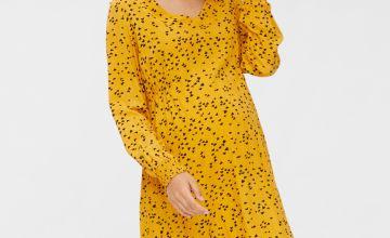 Yellow Heart Print Maternity Dress