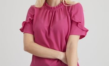 Pink Frill Neck Blouse