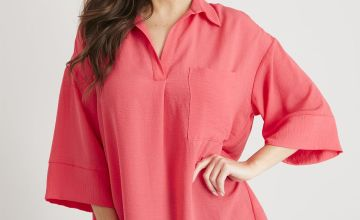 Pink Overhead Longline Relaxed Fit Shirt