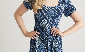 Blue Patchwork Print Tea Dress