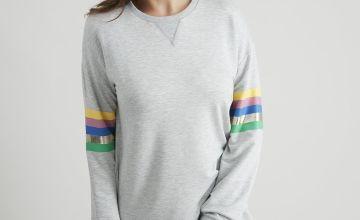 Grey Marl Rainbow Stripe Sweater Dress