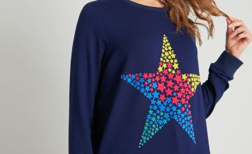 Navy Rainbow Flock Star Coord Sweatshirt