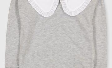 Grey Collared Sweatshirt