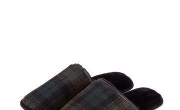 Green Wool Blend Check Mule Slipper
