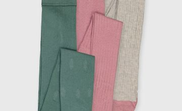 Oatmeal, Pink & Green Texture Tights 3 Pack