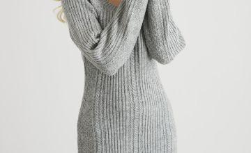 Grey Square Neck Jumper Dress