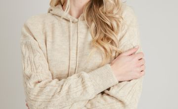 Oatmeal Cable Knit Sleeve Coord Hoodie