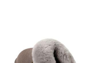 Grey Victoria Sheepskin Mule Slippers