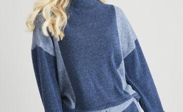 Blue Colour Block Soft Touch Co-ord Sweatshirt