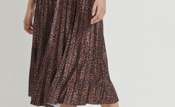 VILA Leopard Print Pleated Midi Skirt