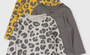 Mustard & Grey Leopard Print Tops 3 Pack