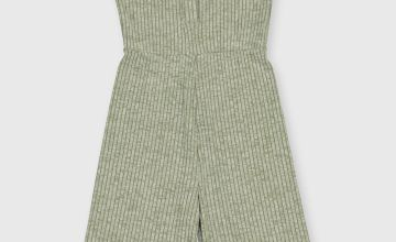 Green Flared Rib Jumpsuit - 3 years