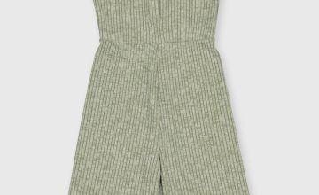 Green Flared Rib Jumpsuit
