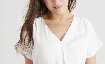White Woven Short Sleeve Blouse