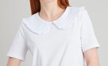 Black Peter Pan Frill Trim Collar T-Shirt