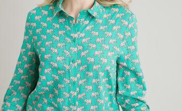 Green Elephant Print Western Shirt