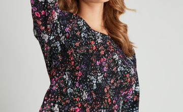 Floral Print Shirred Blouse