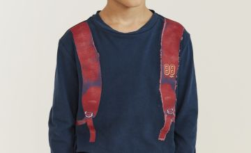 FATFACE Navy Backpack Graphic Top