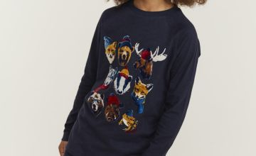 FATFACE Navy Winter Creatures T-Shirt