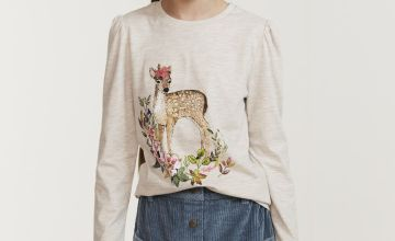 FATFACE Cream Deer Graphic Top