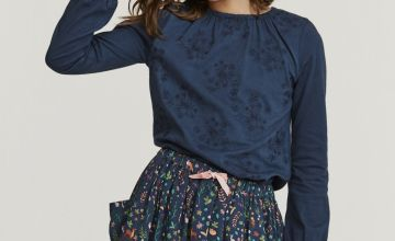 FATFACE Navy Embroidered Top