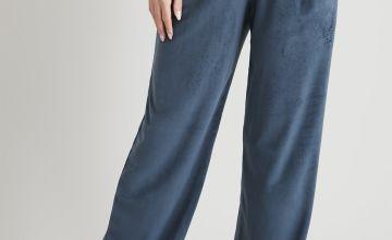 Blue Velour Wide Leg Pyjama Bottoms